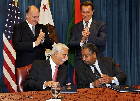 Haile T Debas and Firoz Rasul sign an MoU  with California Governor Arnold Schwarzenegger & His Highness the Aga Khan standing